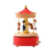Vintage Wood Merry-go-round Music Box Rotated Wind Up Xmas Birthday Present Gift