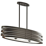 Kichler 43303 Bronze Roswell 3-bulb Indoor Chandelier With Oval Metal Shade
