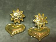 Vintage Signed Christian Lacroix Gold Tone Heart And Sun Design Earrings Clip On
