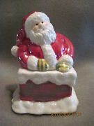 Vintage Avon China Santa In Chimney Figurine Candle Box ..collectible..