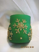 Vintage Red And Green Snowflake Votive Candle Holders...set Of 2..sold By Avon