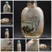 Old Vintage Antique Glass Snuff Bottles Inside Painted Snuffbox Figure-story Art