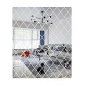 Diamond Spliced Mirror Wall Stickers Self Adhesive Mirror Sheets Decals For Home