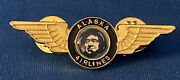 Alaska Airlines Blue And Gold Wings Pin Eskimo Face Logo Aviation Pinback 2