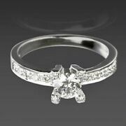 1 Carat 14 Kt White Gold Diamond Solitaire + Side Stones Ring Women Round Cut