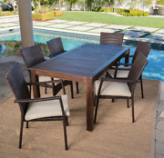 Goodman Outdoor 7 Piece Dining Set With Wood Table And Wicker Dining Chairs With