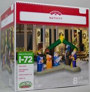 Christmas Gemmy Holiday Time 8 Ft Lighted Nativity Scene Airblown Inflatable