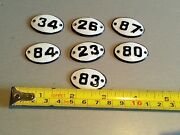 Big Set 7 Pcs Vintage Enameled Porcelain Tin Signs-small Size-2.5in-1.7in Rare