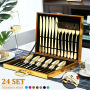24 Pcs Fork And Spoon Set For 6 Stainless Steel Flatware Cutlery Set Dinnerware