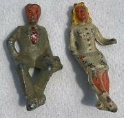 Vintage Lead Manoil Happy Farm Man And Girl On Bench Figures Only