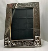 Silver Birth Record Baby Picture Frame With Extra Compartment In Back