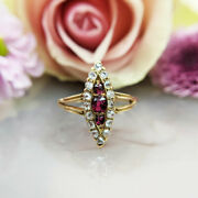 Antique Victorian 18ct Gold Ruby And Diamond Navette Ring | Uk Size M