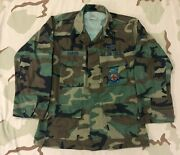Usaf Air Force Camo Bdu Shirt Fire Protection And Civil Engineer Badge M-r