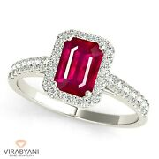 1.20 Ct. Natural Emerald Cut Ruby Ring With 0.25 Ct. Diamond Halo 14k White Gold
