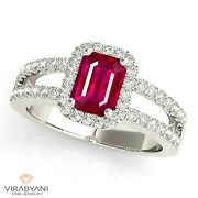 1.20 Ct. Natural Emerald Cut Ruby Ring With 0.50 Ct. Diamond Halo 14k White Gold