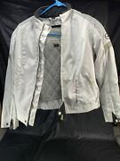 Castle Streetwear Womenand039s Ladies Motorcycle Jacket Size 6 /white Insulated