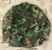 Usaf Air Force Woodland Camo Field Jacket Captain Named W/ Original Patches