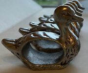 Set Of 10 Vintage Pewter Duck Napkin Rings Silver Elegant Table French Country