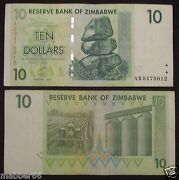 Africa Zimbabwe 10 Dollar Circulated Hyper Inflation Banknote2007 Ab Series