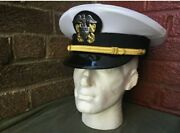 Ww2 Us Navy Officers White Visor Cap, All Size Available