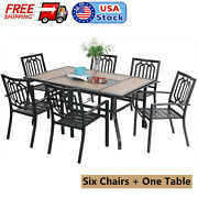 Patio Dining Set Of 7 Outdoor Furniture Chair Rectangle Table With Umbrella Hole