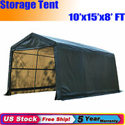 10x15x8 Ft Garage Storage Shed Auto Shelter Portable Canopy Carport Awning Tent