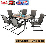 7 Piece Dining Table Chairs Set Outdoor Patio Furniture For 6 Person Party Bbq