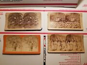 4 Antique Stereograph Cards Copyright Dated 1882-1901 Filipino Women, Ect