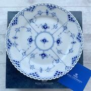 New Royal Copenhagen Blue Fluted Full Lace Service Plate With Box Dinner Plate