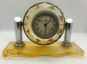 Old Soviet Ussr Russian Aircraft Tank Clock With Stand Watch Chelyabinskie