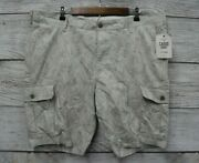 Dockers Shorts Mens Size 42 Beige Tropical Floral Stretch Cargo Shorts New
