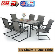 7 Piece Outdoor Patio Dining Furniture Set 6 Rocker Chairs 1 Rectangualr Table
