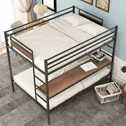 Full Over Twin/ Full Metal Bunk Bed With Storage Shelves Bed Frame Furniture Us