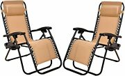 Zero Gravity Lounge Chair Recliners For Patio Garden Furniture Chairs Beige