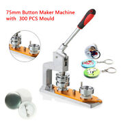 75mm 3and039and039 Badge Machine Button Press Puncher Diy Round Pin Maker + 300 Buttons Us