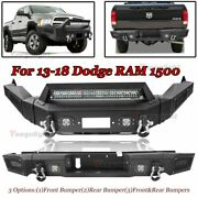 Front/rear Bumper W/ Led Lights Winch Plate D-rings For 13-18 Dodge Ram 1500 Us