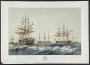 Brierly - French Ships In Baro Sound. 4 1855 Fleets Hand-colored Lithograph