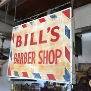 """Vintage 3'x4' Hand Painted """"bill's Barber Shop""""double Sided Metal Face Wood Side"""