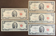 1963 2 Red Seal United States 5 Banknotes