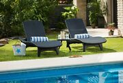 Chaise Sun Lounger And Side Table Set Resin Outdoor Patio Furniturerattan Look
