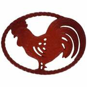 Chasseur 11-inch Flame Red Cast Iron Rooster Trivet Red