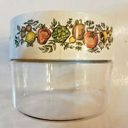 Pyrex Spice Of Life Glass Canister With Lid 16 Oz Stack N See 7064 Corning As Is
