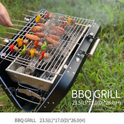 Charcoal Grill Bbq Portable Outdoor Cooking Grills Smoker Shelf Side Steel Us