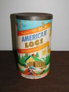 Vintage Lincoln Logs Toy Original Hewn Halsam American Logs No. 825 In Canister