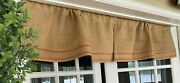 Curtain Valance Farmhouse Kitchen Country Rustic Cabin Burlap Stripe Red Set Two