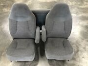 1992-1996 Ford Bronco Captain Chair Seats Lumbar Front Rear Nice Gray Charcoal
