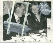 1957 Press Photo J. Arthur Rank And Mrs. George Drew Meet At A Party In England