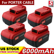 4-pack 6.0ah Lithium-ion Battery For Porter Cable 18v Max Pc18b Pc18bl Pc18blx