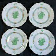 New Herend Chinese Bouquet Green Dinner Plates Set Of 4 Dessert Salad Dish