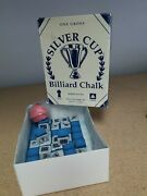 Silver Cup Electric Blue Pool Billiard Cue Chalk 3 Pieces W/ One Holder